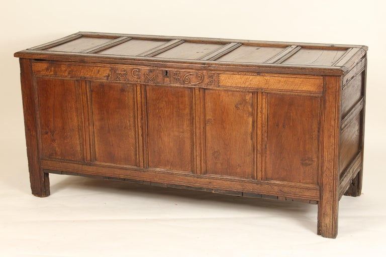 Country Antique English Oak Trunk For Sale