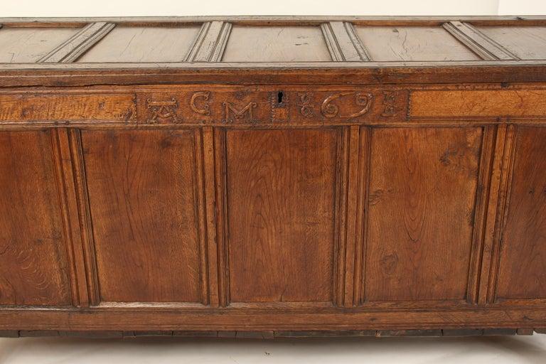 Antique English Oak Trunk For Sale 1