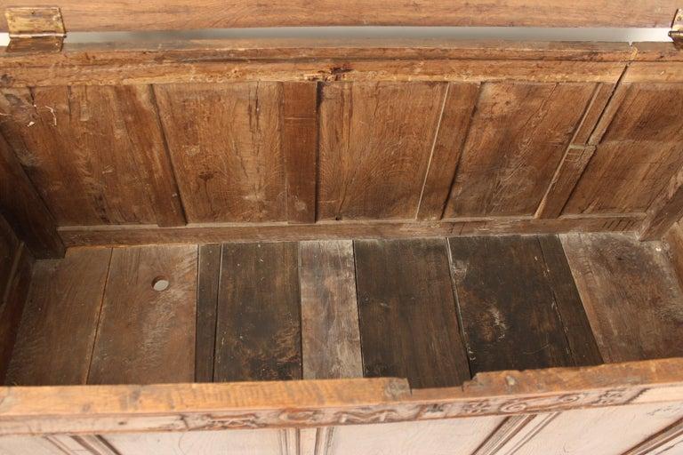 Antique English Oak Trunk For Sale 3