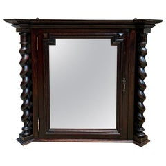 Antique English Oak Wall Display Cabinet Glass Curio Vitrine Barley Twist Shelf