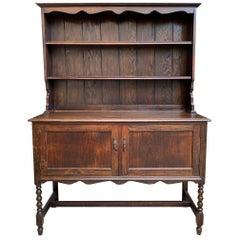 Antique English Oak Welsh Dresser Sideboard Buffet Jacobean Hutch 20th Century