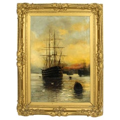 Antique English Oil on Canvas Painting of a River Scene Edward Fletcher 19th C