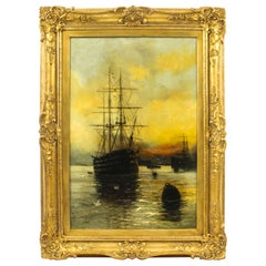 Antique English Oil on Canvas Painting of a River Scene Edward Fletcher, 19th C