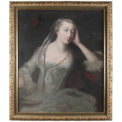 Antique English Oil on Canvas Portrait Painting of Lady, 19th Century
