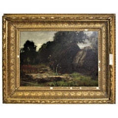Antique English Oil Painting, Country Scene by Yeend King