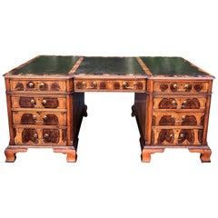 Antique English Oyster Burl Walnut Partners Desk, Hideaway House Beverly Hills
