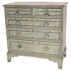 Antique English Painted Pine Chest of Drawers