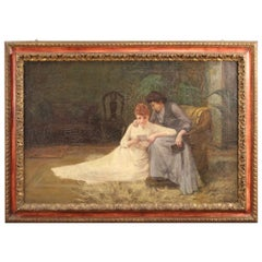 Antique English Painting Signed Interior Scene from the 19th Century