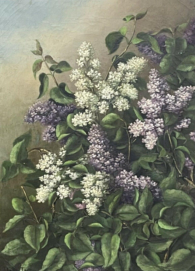 ANTIQUE ENGLISH OIL PAINTING - STILL LIFE OF LILAC FLOWERS - ANTIQUE GILT FRAME - Painting by Antique English