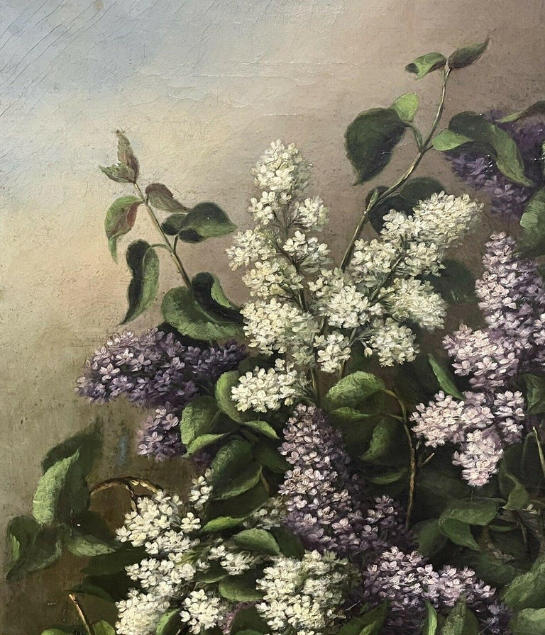 ANTIQUE ENGLISH OIL PAINTING - STILL LIFE OF LILAC FLOWERS - ANTIQUE GILT FRAME - Impressionist Painting by Antique English