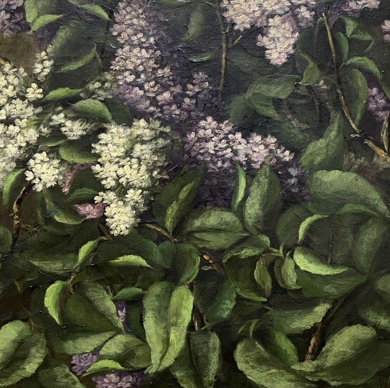 ANTIQUE ENGLISH OIL PAINTING - STILL LIFE OF LILAC FLOWERS - ANTIQUE GILT FRAME - Brown Interior Painting by Antique English