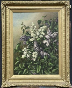 ANTIQUE ENGLISH OIL PAINTING - STILL LIFE OF LILAC FLOWERS - ANTIQUE GILT FRAME