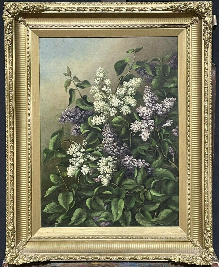 Antique English Interior Painting - ANTIQUE ENGLISH OIL PAINTING - STILL LIFE OF LILAC FLOWERS - ANTIQUE GILT FRAME