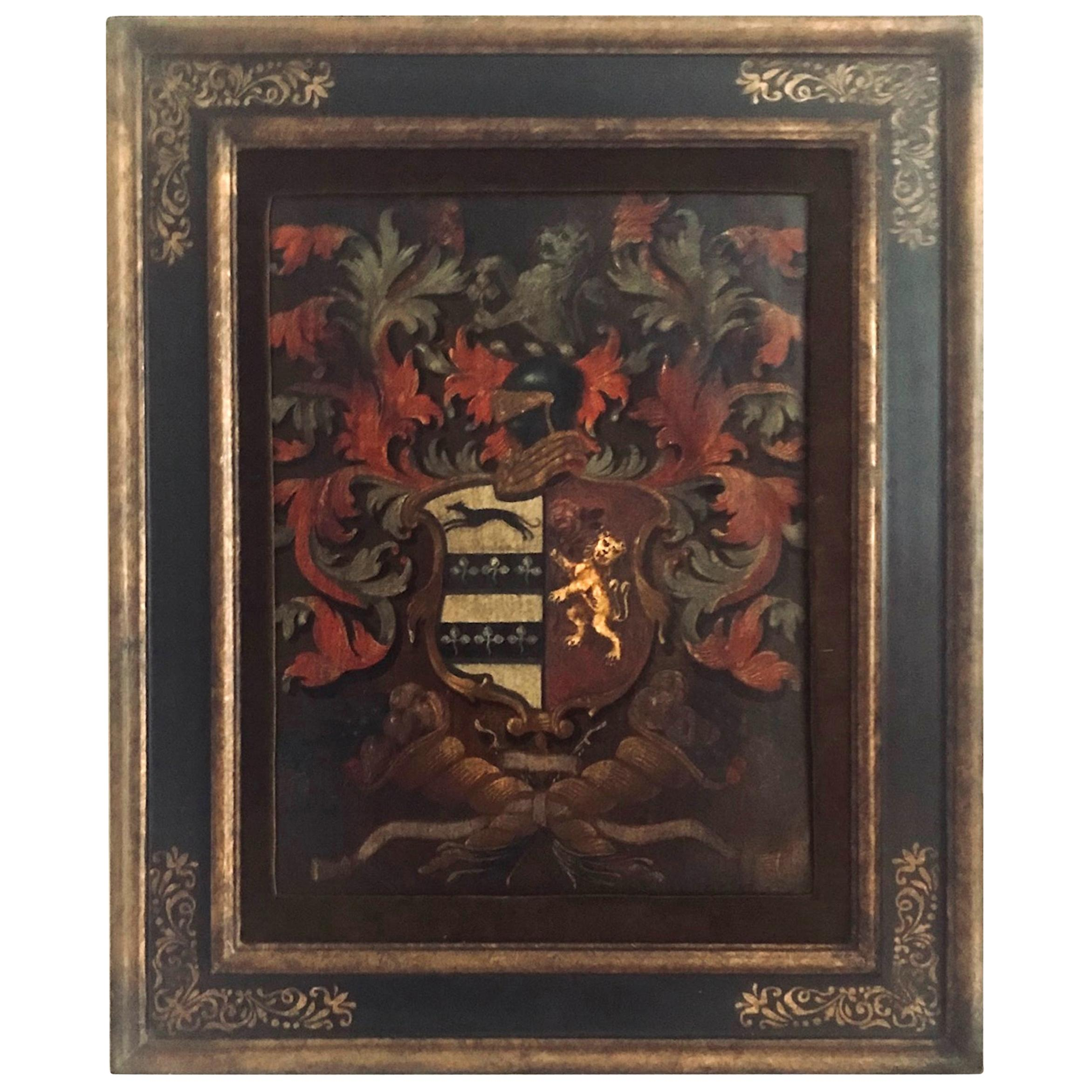 Antique English Palmer Family Crest Painted Oil on Board