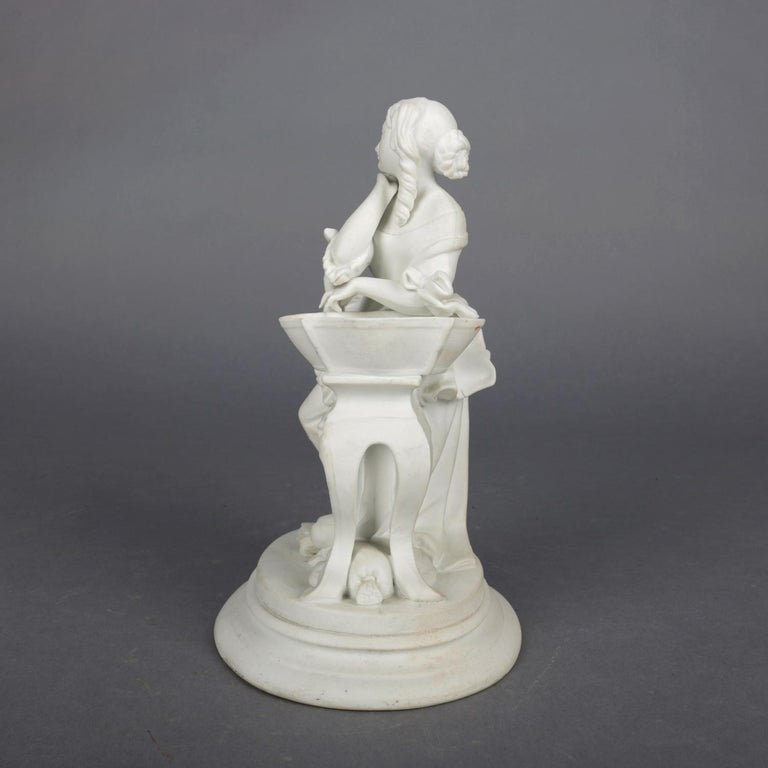 Victorian Antique English Parian Figural Genre Grouping of Woman & Washstand, 19th Century For Sale