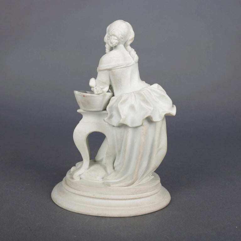 Antique English Parian Figural Genre Grouping of Woman & Washstand, 19th Century In Good Condition For Sale In Big Flats, NY
