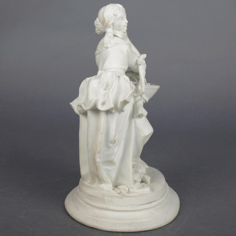Porcelain Antique English Parian Figural Genre Grouping of Woman & Washstand, 19th Century For Sale
