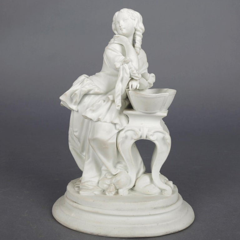 Antique English Parian Figural Genre Grouping of Woman & Washstand, 19th Century For Sale 1