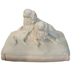 Antique English Parian King Charles Spaniels Group by Copeland