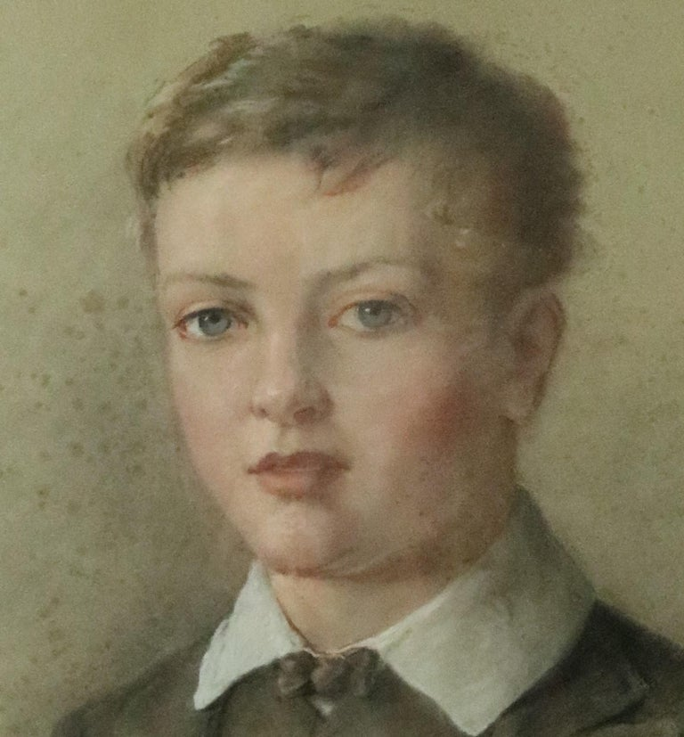 19th Century Antique English Pastel Portrait of Boy Attributed George Richmond For Sale