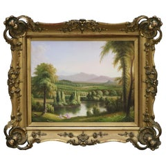 Antique English Pastoral Painting in Victorian Giltwood Frame, circa 1900