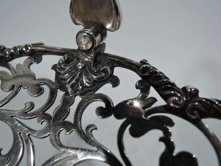 Early 20th Century Antique English Pierced Sterling Silver Basket For Sale