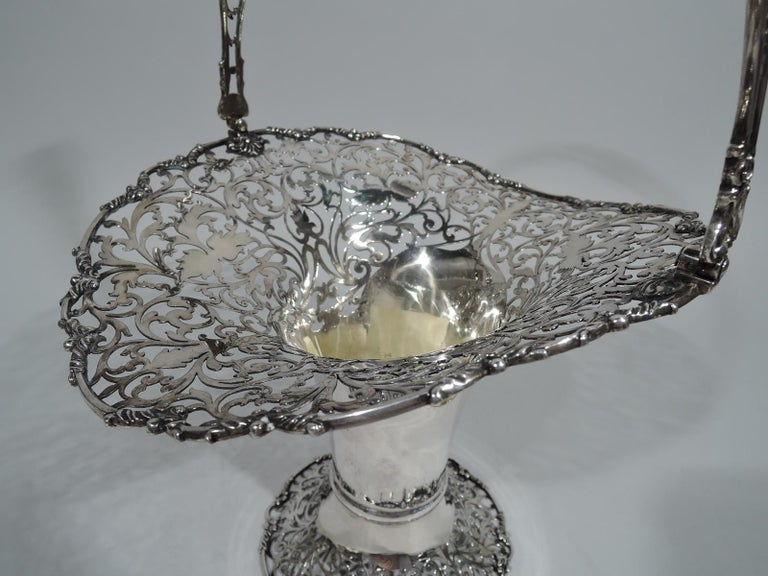 Antique English Pierced Sterling Silver Basket For Sale 1