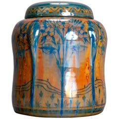 English Pilkington Art Pottery Biscuit Jar, Stylized Landscape, 20th Century