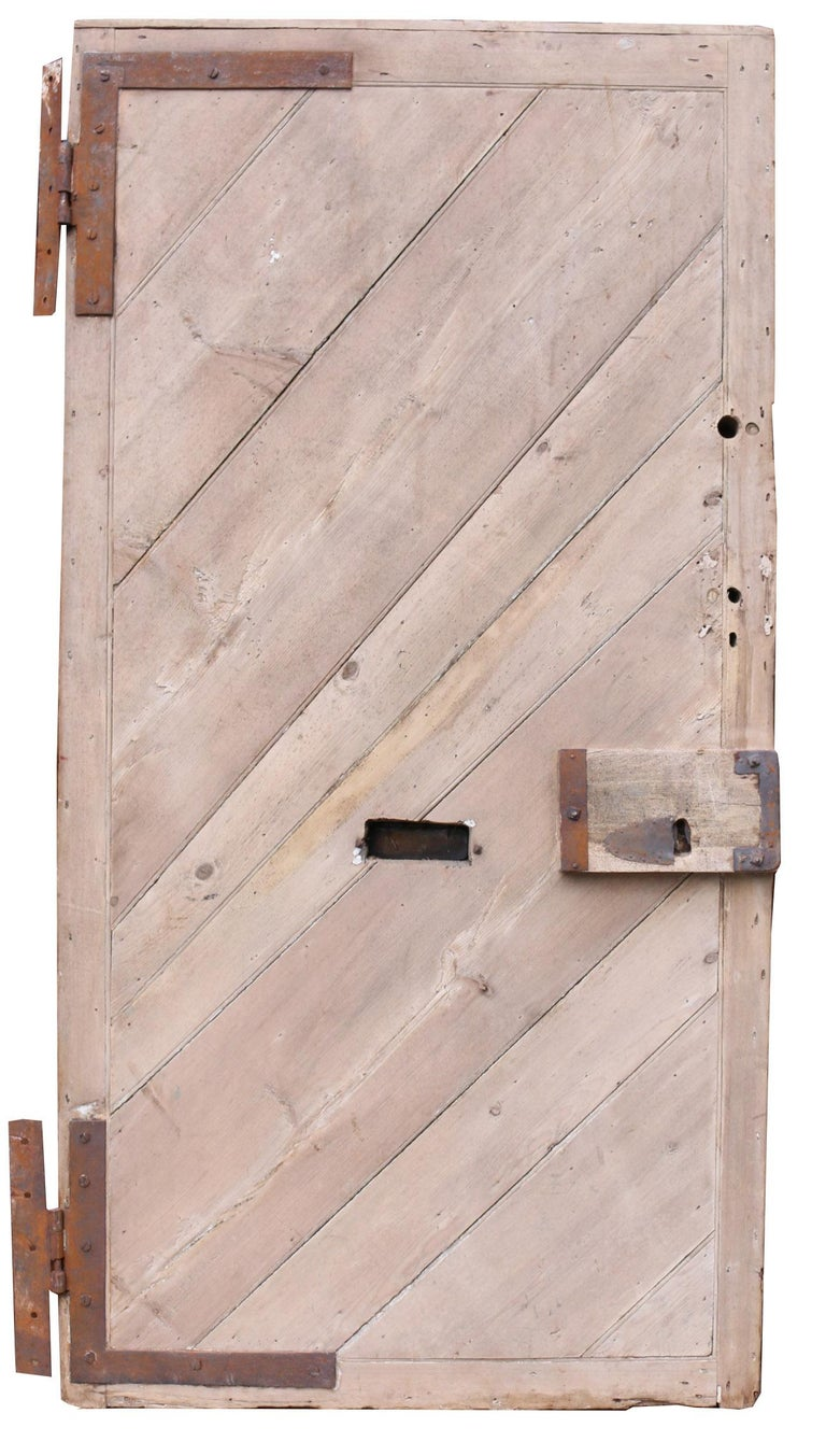Antique English Pine Front Door In Fair Condition For Sale In Wormelow, Herefordshire