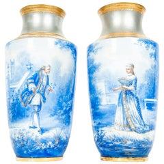 Antique English Porcelain Decorative Pair of Vases / Pieces