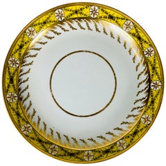 Antique English Porcelain Dish with Neoclassical Design on Yellow Ground, c 1800