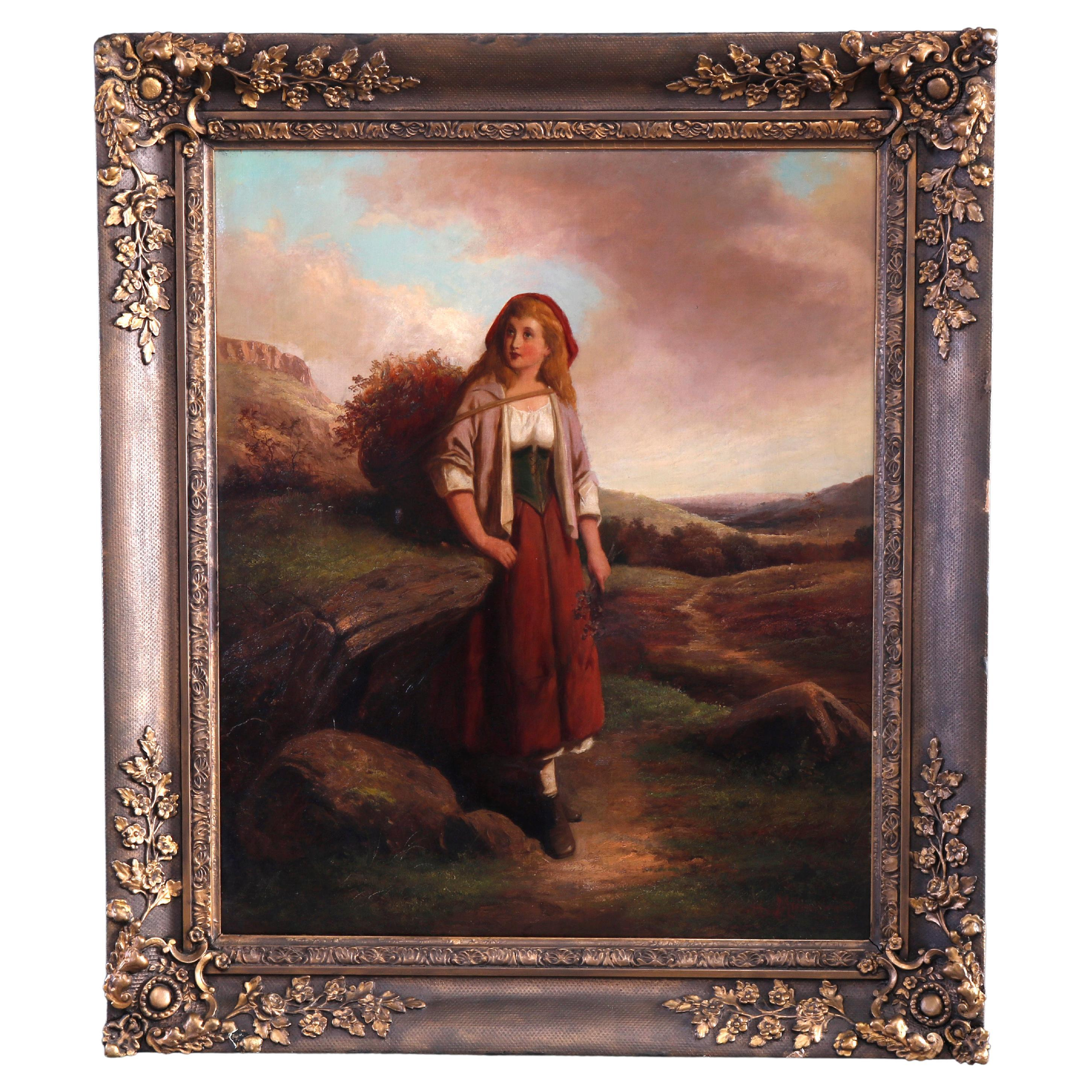 Antique English Portrait Painting of Young Maiden in Field, Giltwood Frame c1870