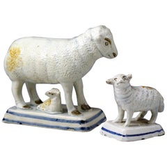 Antique English Pottery Figures of a Ewe and Lambs, Early 19th Century