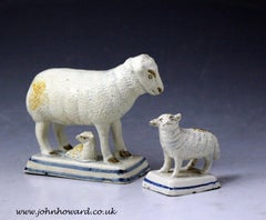 Antique English pottery figures of a ewe and lambs early 19th century
