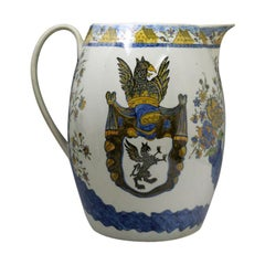 Antique English Pottery Prattware Large Scale Pitcher, 1805
