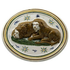 Antique English Pottery Prattware Plaque with Lions Early 19th Century