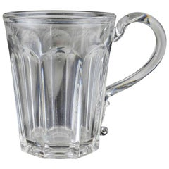 Antique English Press Moulded Glass Tankard, Dated 1864