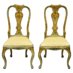 Antique English Queen Anne Adams Green Handpainted Dining Side Chairs, a Pair