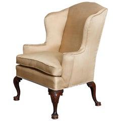 Antique English Queen Anne Fireside Wingback Chair, circa 1910