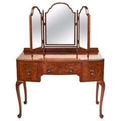 Antique English Queen Anne Style Walnut Bow Front Kneehole Dressing Table