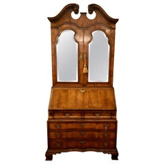 Antique English Queen Anne Walnut Secretary, circa 1900
