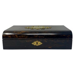 Antique English Rare Coromandel Wood Cribbage Game Box, circa 1860-1880