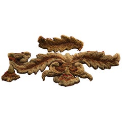 Antique English Red and Gold Applique Embroidered Scrolling Leaves on Raffia