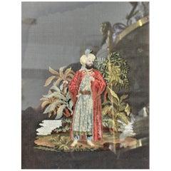 Antique English Regency Framed Folk Art Needlepoint Depicting a Persian Man