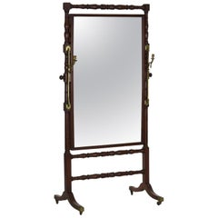 Antique English Regency Full Length Cheval Mirror, Early 19th Century