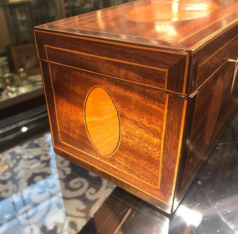 19th Century Antique English Regency Satinwood Inlaid Mahogany Box For Sale