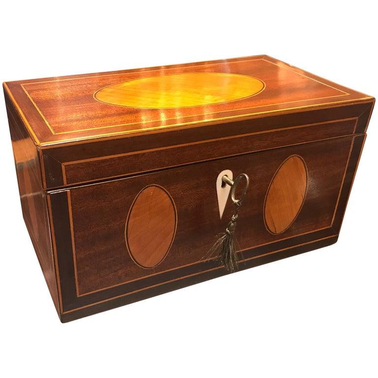 Antique English Regency Satinwood Inlaid Mahogany Box For Sale