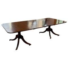 Antique English Regency Mahogany 2-Pedestal Dining Table