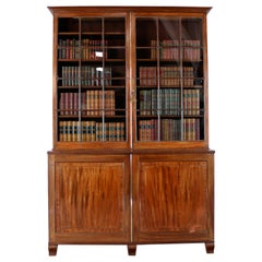 Antique English Regency Mahogany Glazed Bookcase Cabinet