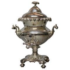 Antique English Regency Pedestal Silver Plate Samovar, Tea Urn, circa 1890